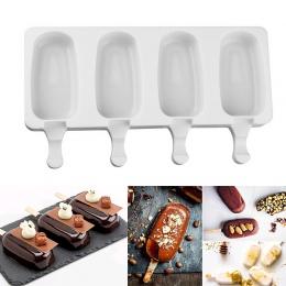 2 rozmiary domowej roboty lody formy 4 ubytków silikonowe DIY Popsicle narzędzie do formowania soku deser ekspres z 10 patyczki