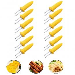 12 sztuk kolby kukurydzy uchwyty ze stali nierdzewnej grill zęby szaszłyki widły strona