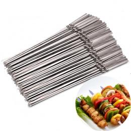 15 sztuk wielokrotnego użytku płaskie szaszłyki ze stali nierdzewnej grill igła kij na zewnątrz camping piknik narzędzia do goto