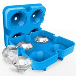 Nowy 4 jamy diament kształt 3D kostki lodu formierka Bar Party tace silikonowe formy czekoladowe narzędzie kuchenne, świetny pre