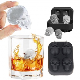 Kostkarka do lodu taca 3D czaszka formy silikonowe diament kształt 4 Cavity DIY ekspres do lodu użytku domowego koktajle silikon