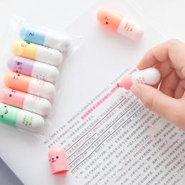 6 sztuk/partia kapsułki rozświetlacz pigułka witamina Marker kolor długopisy biurowe biurowe artykuły szkolne