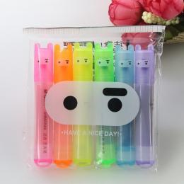 6 sztuk/paczka, hurtownia kreatywny poranek Cartoon śliczne królik Ninja Mini 6 kije fluorescencyjny długopis
