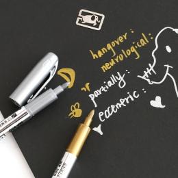 2 sztuk DIY Metal wodoodporna markery permanentne Sharpie złoto i srebro 1.5mm materiały studenckie rękodzieło pióro sztuki malo