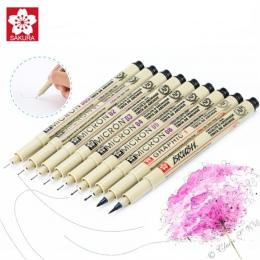 9 sztuk/zestaw Sakura Pigma Micron Pen igły pióro do rysowania wiele 005 01 02 03 04 05 08 pędzelek do zdobień Art markery