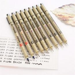 Sakura Pigma długopis mikronowy Neelde miękka szczotka pióro do rysowania wiele 005 01 02 03 04 05 08 1.0 szczotka Art markery