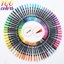 100 kolor podwójny pędzel pisaki artystyczne dzieła wskazówka i końcówka pędzla doskonale nadaje się do Bullet Journals kolorowa