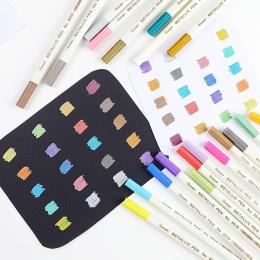 20 kolorów metaliczny długopis mikronowy szczegółowe znakowania metalu marker do album czarny papier rysunek szkolne artykuły ar