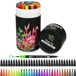 60 kolorów Art markery podwójne końcówki do farbowania Fineliner kolor długopisy Marker wody do kaligrafii rysunek szkicowania k