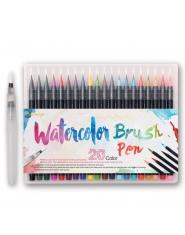 Zakreślacze flamastry pisaki z pędzelkiem akwarelowe markery do biura szkoły do malowania żywe soczyste kolory