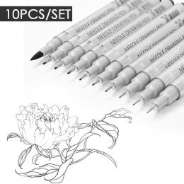 10 sztuk igły pióro do rysowania wodoodporny szkic Pigment dobrze długopis długopis zestaw profesjonalny Marker hak długopisy do