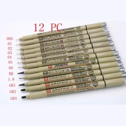 Pigment Sakura Micron Neelde kaligrafii miękka szczotka pióro do rysowania 005 01 02 03 04 05 08 pędzel 1.0 GR 1 2 3 drobny punk