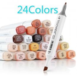 TOUCHNew sztuki markery długopisy 24 kolory podwójna końcówka alkoholu pędzelek do zdobień skóry Tone zestaw do szkicu animacji