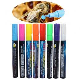 1 sztuk LED wyróżnienia znaków pióro królowa Bee Marker Pen 135mm * 4mm 8 kolory opcjonalnie skos stalówka pędzel narzędzia pszc