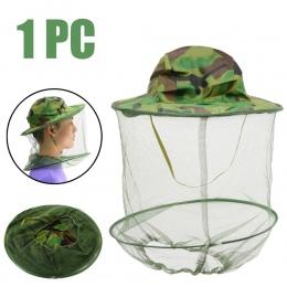 Nowy pszczelarskie kamuflaż kapelusz Mosquito Bee sieć na owady welon kapelusz twarzy głowy szyi Wrap Protector narzędzia pszcze