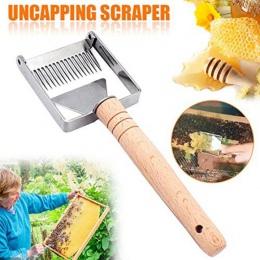 Benefitbee Uncapping widelec żelaza o strukturze plastra miodu miód skrobak drewniany uchwyt narzędzie pszczelarskie Apicultura