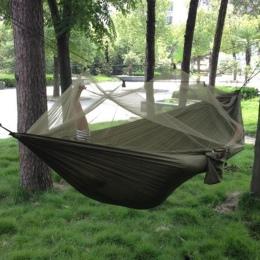 1-2 osób przenośny odkryty Camping hamak z moskitiera o wysokiej wytrzymałości tkanina na spadochron wiszące łóżko polowanie do