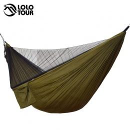 Łatwe ustawienie moskitiera Hamak podwójny Hamak 290*140 cm z liny paznokcie Hamak Hamaca przenośny na Camping podróży stoczni