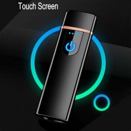 Nowy cienki zapalniczka ładowana na USB ekran dotykowy elektroniczne zapalniczki mały akumulator zapalniczka elektryczna wiatros