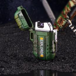 Wodoodporna USB zapalniczka plazmowa podwójny łuk na zewnątrz Camping sport zapalniczki do palenia