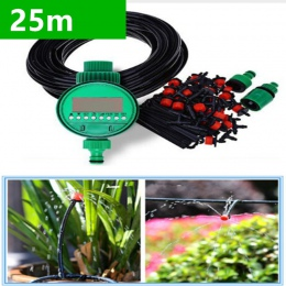25 m DIY Micro Drip System nawadniania roślin automatyczny zegar nawadniania zestawy węży ogrodowych z regulowany kroplownik BH0