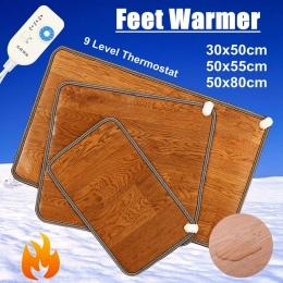Zima 3 rozmiary skórzane ogrzewanie stóp mata cieplej elektryczne podgrzewane podkładki stóp ocieplacz na nogi termostat biuro w