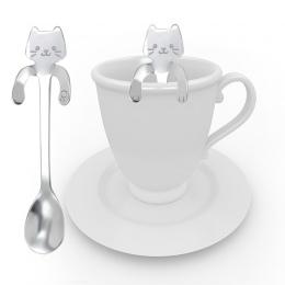 CARRYWON 1 sztuk kawy łyżka łyżeczka do herbaty małe Mini 304 ze stali nierdzewnej złoty kot łyżeczka łyżeczka do deserów długi