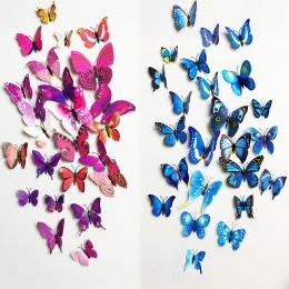 Darmowa wysyłka 12 sztuk pcv 3d Butterfly dekoracje ścienne śliczne motyle naklejki ścienne naklejki sztuki dekoracji pokoju wal