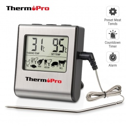 Thermopro TP16 LCD cyfrowy gotowanie kuchnia jedzenie termometr do mięs do piekarnika z grillem palacz zegar z sonda ze stali ni