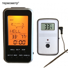 Cyfrowy grill termometr bezprzewodowy kuchnia piekarnik jedzenie łopatka grillowa palacz mięso termometr z sondą i zegar Alarm t