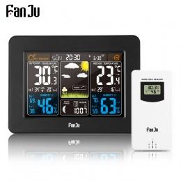 FanJu FJ3365B stacja pogodowa bezprzewodowy cyfrowy kolor prognoza alarmu kryty termometr zewnętrzny czujnik wilgotności podświe