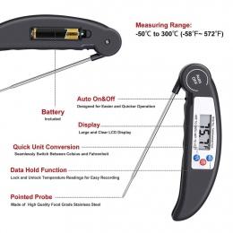 Cyfrowy termometr żywności sonda mięso Grill Grill jedzenie gotowanie natychmiastowy odczyt narzędzia kuchenne E2S