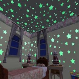 * 100 szt. 3D gwiazdy świecą w ciemności Luminous na naklejki ścienne dla dzieci pokój dzienny naklejka ścienna do pokoju Home D