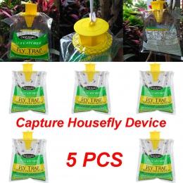 5 sztuk muchołówka mała torba dom ogród na zewnątrz jednorazowe lep na muchy kontroli pułapka środek owadobójczy lotnicze muchoł