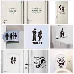 WC toaleta wejście znak naklejki drzwi do miejsce publiczne dekoracji domu kreatywny wzór naklejki ścienne Diy śmieszne Vinyl Mu