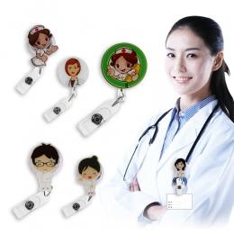 Cute Cartoon Mini chowany odznaka Reel pielęgniarka na szyję smycze ID nazwa karty uchwyt klip Student pielęgniarka odznaka uchw