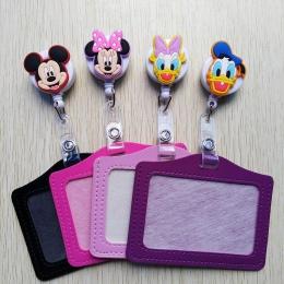 1 sztuk śliczne multicolor cartoon zwierząt chowany odznaka kołowrotek z poziome stylu PU ID wizytówka posiadacza karty identyfi