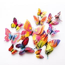Nowy styl 12 sztuk podwójna warstwa 3D motyl naklejki ścienne na ścianie wystrój domu motyle do dekoracji magnes lodówka naklejk