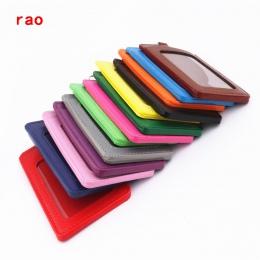 Luksusowe jakość 610 materiał ze skóry PU podwójna karta rękaw zestawy ID odznaka Case wyczyść karty kredytowej banku odznaka uc