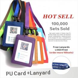 Skóra Id przypadku posiadaczy PU biznes kieszeń na karty z naszyjnik smycz LOGO dostosuj druk firma i materiały biurowe