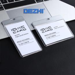 DEZHI-nowa moda ID karty IC Breakaway posiadacza karty identyfikacyjnej, jasne uchwyt na karty pracy bez smyczy, akrylowe z meta