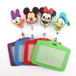 1 sztuk Cartoon Mickey chowany odznaka bębnowy poziome styl Student pielęgniarka Exihibiton ID nazwa karty uchwyt na materiały b
