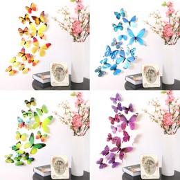 12 sztuk motyle naklejki ścienne naklejki naklejki naklejki na ścianę nowy rok dekoracje do domu 3D motyl tapeta z PVC do salonu