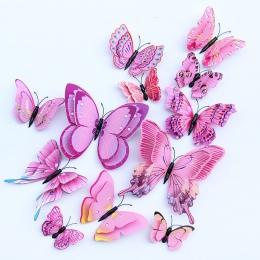 12 sztuk Multicolor podwójna warstwa skrzydła 3D motyl naklejki ścienne magnes pcv motyle strona dzieci sypialnia lodówka Decor