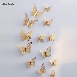 Nowy 12 sztuk 3D Hollow naklejki ścienne motyl lodówka do dekoracji wnętrz Mariposas Decorativas dekoracje ścienne Mariposas Dec