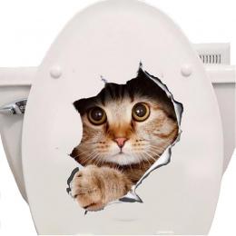 Koty 3D naklejki ścienne naklejki na toaletę widok na dziurę żywe psy łazienka dekoracje do domu zwierząt etykiety winylowe Art