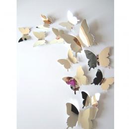 12 sztuk/zestaw lustro naklejki ścienne naklejka motyle 3D lustro Wall Art Home dekory motyl lodówka naklejka ścienna na wyprzed