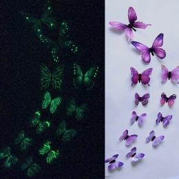 12 sztuk Luminous motyl projekt naklejka Art naklejki ścienne pokój magnetyczny wystrój domu diy naklejki stickertjes tapety dek