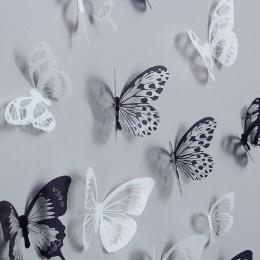 18 sztuk 3D czarny i biały motyl naklejka Art naklejka Home Decoration wystrój pokoju gorąca sprzedaż