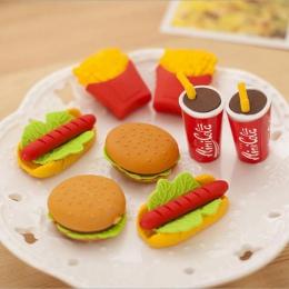 Hurtownie! 5 sztuk śliczne Kawaii ciasto z hamburgerami jedzenie napój koksu zestaw gumek do ścierania papiernicze szkolne mater